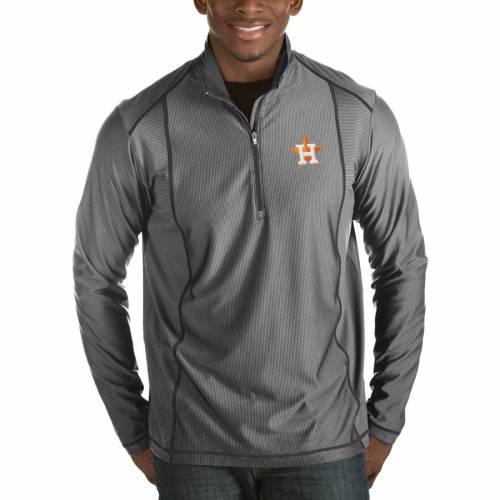 ANTIGUA ヒューストン アストロズ チャコール メンズファッション コート ジャケット メンズ 【 Houston Astros Tempo Half-zip Pullover Jacket - Heathered Charcoal 】 Charcoal