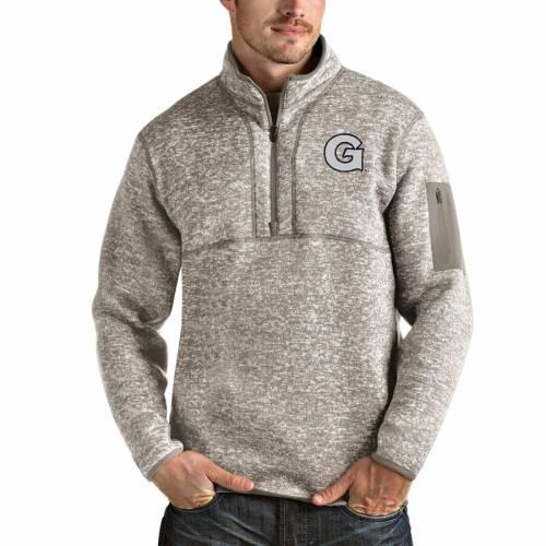 ANTIGUA ジョージタウン メンズファッション コート ジャケット メンズ 【 Georgetown Hoyas Fortune Half-zip Pullover Jacket - Oatmeal 】 Oatmeal