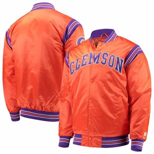 スターター STARTER タイガース サテン 橙 オレンジ メンズファッション コート ジャケット メンズ 【 Clemson Tigers The Enforcer Satin Full-button Jacket - Orange 】 Orange