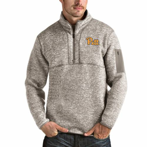ANTIGUA パンサーズ メンズファッション コート ジャケット メンズ 【 Pitt Panthers Fortune Half-zip Pullover Jacket - Oatmeal 】 Oatmeal