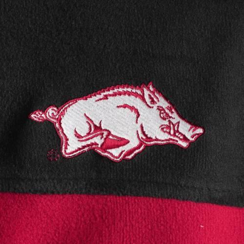 コロンビア COLUMBIA フリース チーム メンズファッション コート ジャケット メンズ 【 Arkansas Razorbacks Flanker Iii Fleece Team Full-zip Jacket - Black/cardinal 】 Black/cardinal