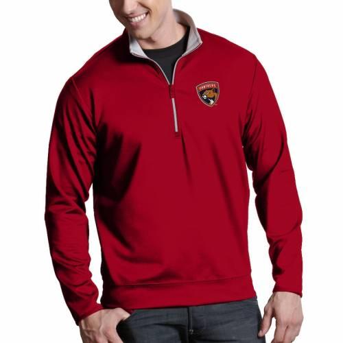 ANTIGUA フロリダ パンサーズ 赤 レッド メンズファッション コート ジャケット メンズ 【 Florida Panthers Leader 1/4-zip Pullover Jacket - Red 】 Red
