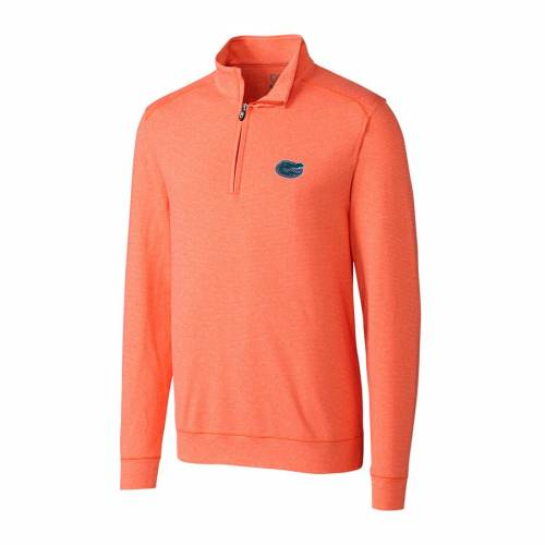 CUTTER & BUCK ヘザー 橙 オレンジ フロリダ メンズファッション コート ジャケット メンズ 【 Cutter And Buck Heather Orange Florida Gators Big And Tall Shoreline Half-zip Jacket 】 Zip Jacket