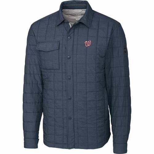 CUTTER & BUCK ワシントン ナショナルズ チャコール メンズファッション コート ジャケット メンズ 【 Washington Nationals Cutter And Buck Big And Tall Rainier Shirt Jacket - Charcoal 】 Charcoal