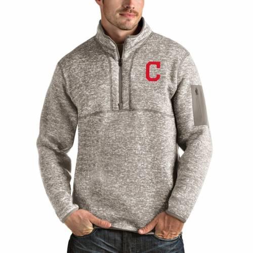 ANTIGUA クリーブランド インディアンズ メンズファッション コート ジャケット メンズ 【 Cleveland Indians Fortune Quarter-zip Pullover Jacket - Oatmeal 】 Oatmeal