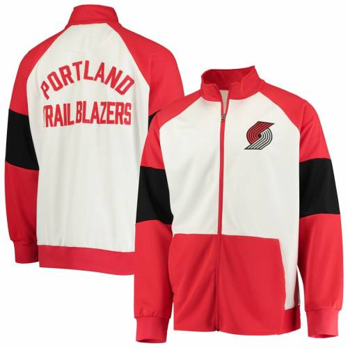 G-III SPORTS BY CARL BANKS ポートランド ウォーム ラグラン トラック メンズファッション コート ジャケット メンズ 【 Portland Trail Blazers Warm Up Colorblock Raglan Full-zip Track Jacket - Red/white 】 Red/whit