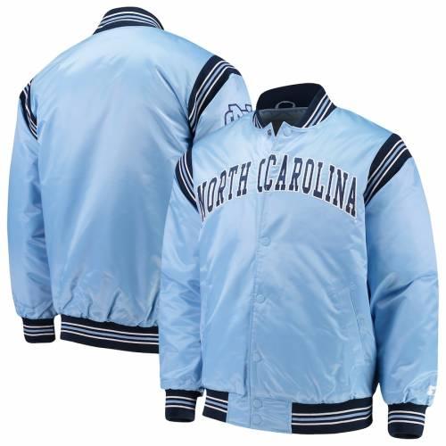 スターター STARTER ノース カロライナ サテン 青 ブルー メンズファッション コート ジャケット メンズ 【 North Carolina Tar Heels The Enforcer Satin Full-button Jacket - Carolina Blue 】 Carolina Blue