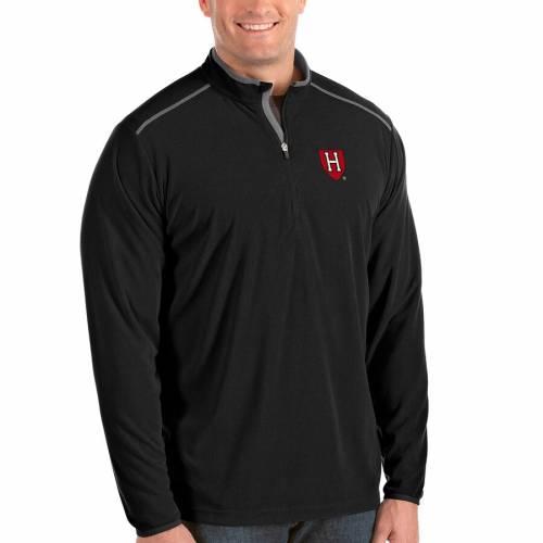 ANTIGUA ハーバード メンズファッション コート ジャケット メンズ 【 Harvard Crimson Big And Tall Glacier Half-zip Pullover Jacket - Black/gray 】 Black