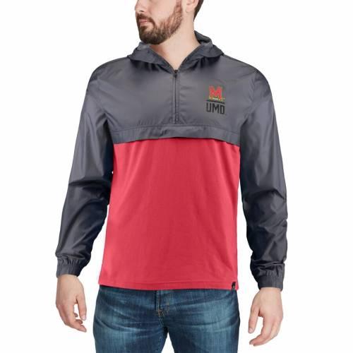 アンダーアーマー UNDER ARMOUR メリーランド ウーブン 赤 レッド メンズファッション コート ジャケット メンズ 【 Maryland Terrapins Sportstyle Woven Tri-blend Quarter-zip Pullover Jacket - Red 】 Red