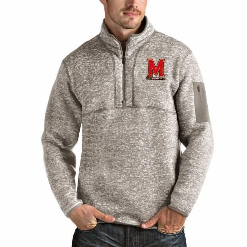 ANTIGUA メリーランド メンズファッション コート ジャケット メンズ 【 Maryland Terrapins Fortune Half-zip Pullover Jacket - Oatmeal 】 Oatmeal