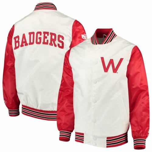 スターター STARTER ウィスコンシン ルーキー サテン 白 ホワイト メンズファッション コート ジャケット メンズ 【 Wisconsin Badgers The Rookie Satin Jacket - White 】 White