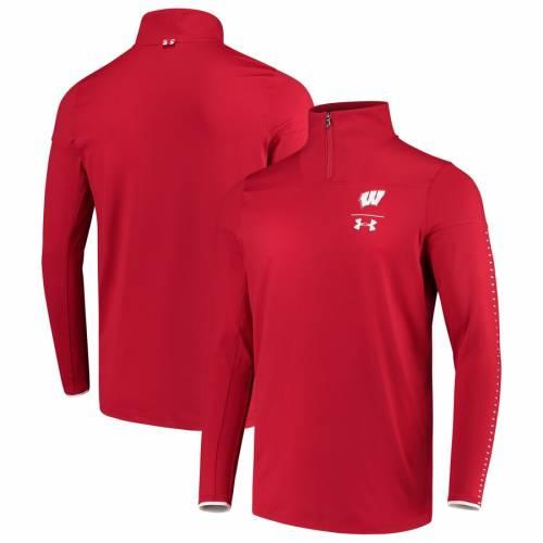 アンダーアーマー UNDER ARMOUR ウィスコンシン サイドライン パフォーマンス 赤 レッド メンズファッション コート ジャケット メンズ 【 Wisconsin Badgers 2018 Sideline Performance 1/4 Zip Jacket - Red