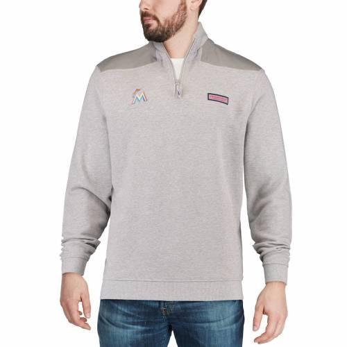 VINEYARD VINES マイアミ マーリンズ 灰色 グレー グレイ メンズファッション コート ジャケット メンズ 【 Miami Marlins Shep Shirt Quarter-zip Pullover Jacket - Gray 】 Gray