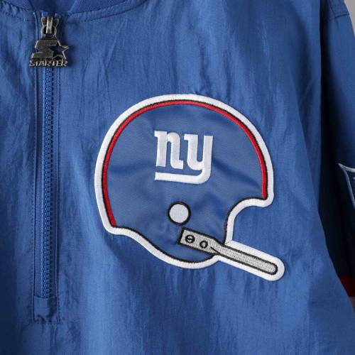 スターター STARTER ジャイアンツ メンズファッション コート ジャケット メンズ 【 New York Giants Throwback Jet Half-zip Pullover Jacket - Royal 】 Royal