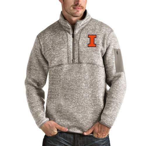 ANTIGUA イリノイ メンズファッション コート ジャケット メンズ 【 Illinois Fighting Illini Fortune Half-zip Pullover Jacket - Oatmeal 】 Oatmeal