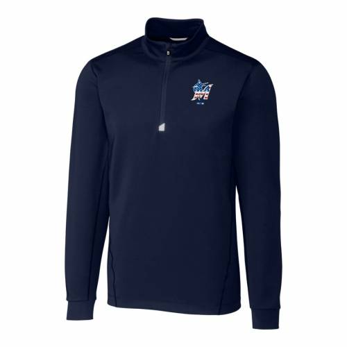 CUTTER & BUCK マイアミ マーリンズ 紺 ネイビー メンズファッション コート ジャケット メンズ 【 Miami Marlins Cutter And Buck Stars And Stripes Big And Tall Traverse Half-zip Pullover Jacket - Navy 】 Navy