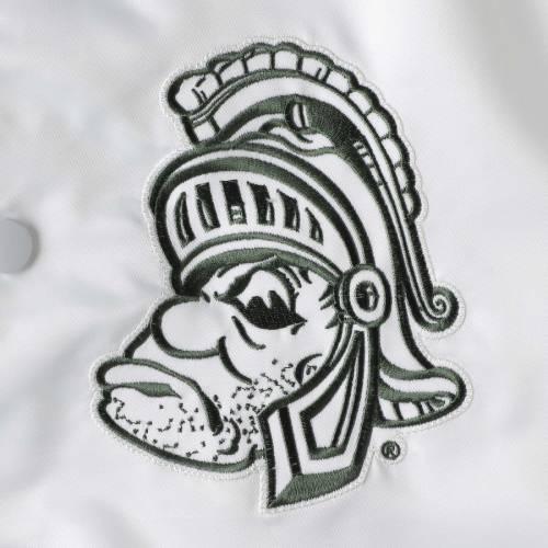 スターター STARTER ミシガン スケートボード レジェンド メンズファッション コート ジャケット メンズ 【 Michigan State Spartans The Legend Full-snap Jacket - White/green 】 White/green