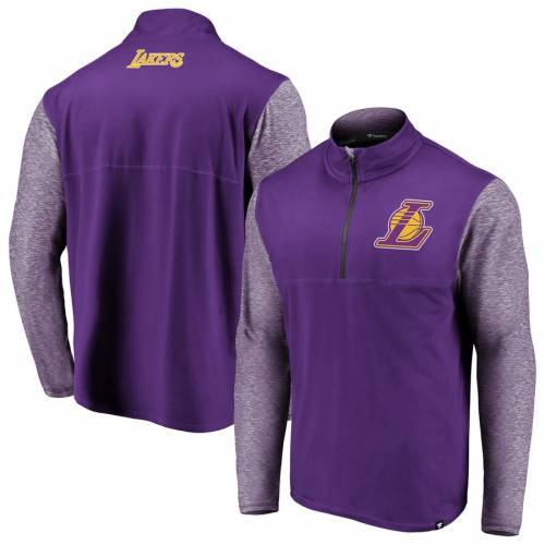 FANATICS BRANDED レイカーズ パフォーマンス 紫 パープル メンズファッション コート ジャケット メンズ 【 Los Angeles Lakers Big And Tall Made To Move Static Performance Quarter-zip Pullover Jacket - Purple/heather