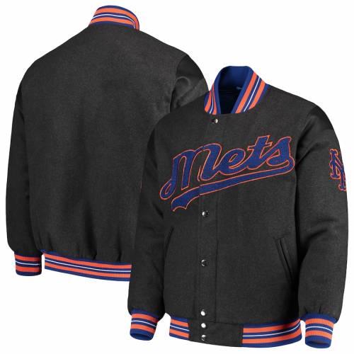 G-III SPORTS BY CARL BANKS メッツ ゲーム 灰色 グレー グレイ メンズファッション コート ジャケット メンズ 【 New York Mets Game Ball Full-snap Varsity Jacket - Gray 】 Gray