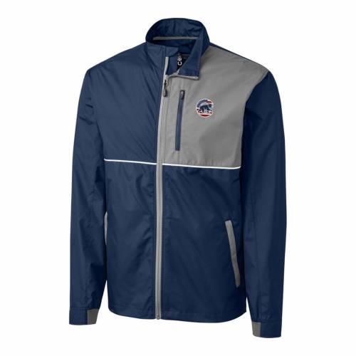 CUTTER & BUCK シカゴ カブス ウィンドブレーカー メンズファッション コート ジャケット メンズ 【 Chicago Cubs Cutter And Buck Stars And Stripes Full-zip Oakridge Windbreaker Jacket - Navy/gray 】 Navy/gray