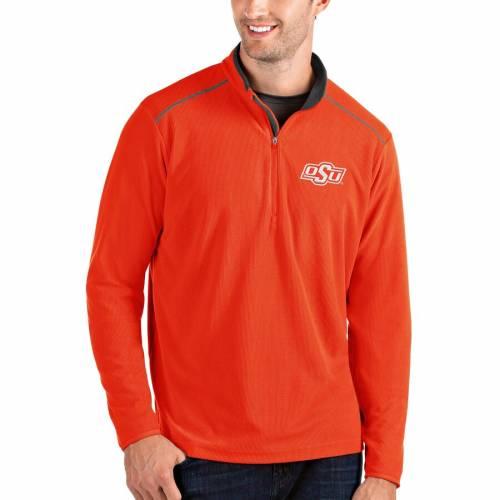 ANTIGUA スケートボード カウボーイズ メンズファッション コート ジャケット メンズ 【 Oklahoma State Cowboys Glacier Quarter-zip Pullover Jacket - Gray/charcoal 】 Orange