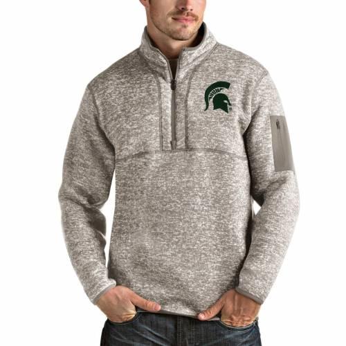 ANTIGUA ミシガン スケートボード メンズファッション コート ジャケット メンズ 【 Michigan State Spartans Fortune Half-zip Pullover Jacket - Oatmeal 】 Oatmeal