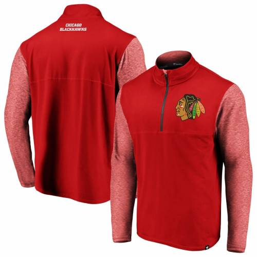 FANATICS BRANDED シカゴ 赤 レッド メンズファッション コート ジャケット メンズ 【 Chicago Blackhawks Made To Move Quarter-zip Pullover Jacket - Red/heathered Red 】 Red/heathered Red