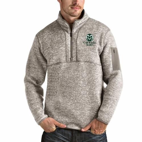 ANTIGUA コロラド スケートボード ラムズ メンズファッション コート ジャケット メンズ 【 Colorado State Rams Fortune Half-zip Pullover Jacket - Oatmeal 】 Oatmeal
