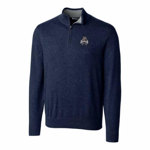 CUTTER & BUCK ユタ スケートボード ロゴ 紺 ネイビー メンズファッション コート ジャケット メンズ 【 Utah State Aggies Cutter And Buck Lakemont Vault Logo 1/2-zip Jacket - Navy 】 Navy