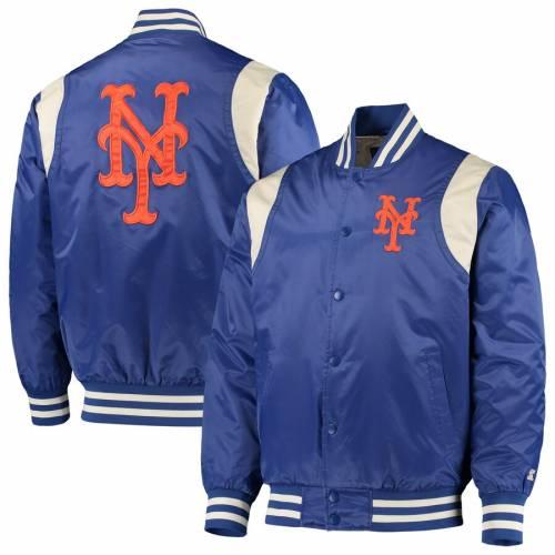 スターター STARTER メッツ ビンテージ ヴィンテージ サテン メンズファッション コート ジャケット メンズ 【 New York Mets Vintage Varsity Satin Full-snap Jacket - Royal/cream 】 Royal/cream
