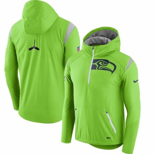 ナイキ NIKE シアトル シーホークス サイドライン ラッシュ 緑 グリーン メンズファッション コート ジャケット メンズ 【 Seattle Seahawks Sideline Fly Rush Half-zip Pullover Jacket - Neon Green 】 Neon Gr