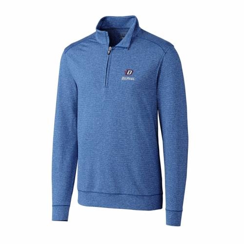 CUTTER & BUCK ヘザー 青 ブルー メンズファッション コート ジャケット メンズ 【 Cutter And Buck Heather Royal Depaul Blue Demons Big And Tall Shoreline Half-zip Jacket 】 Zip Jacket