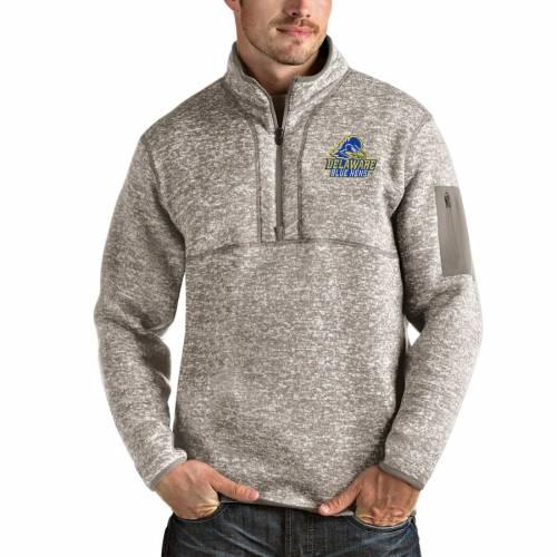 ANTIGUA 青 ブルー メンズファッション コート ジャケット メンズ 【 Delaware Fightin Blue Hens Fortune Half-zip Pullover Jacket - Oatmeal 】 Oatmeal
