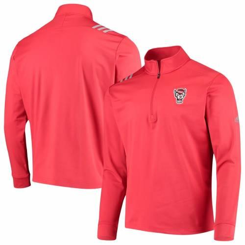 アディダス ADIDAS スケートボード カレッジ 赤 レッド メンズファッション コート ジャケット メンズ 【 Nc State Wolfpack College Three-stripe Quarter-zip Jacket - Red 】 Red