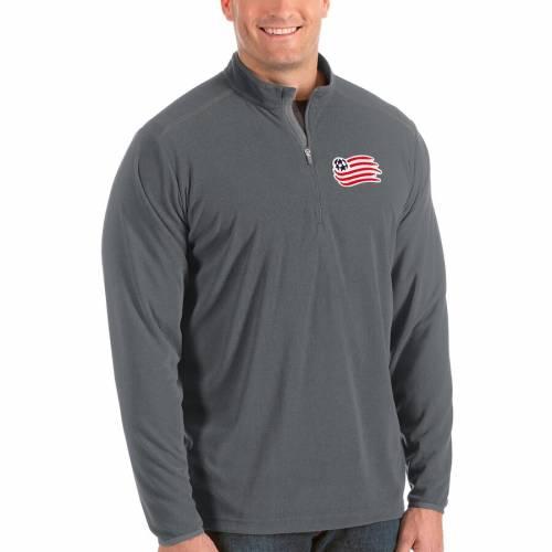 ANTIGUA 紺 ネイビー メンズファッション コート ジャケット メンズ 【 New England Revolution Big And Tall Glacier Quarter-zip Pullover Jacket - Navy 】 Silver