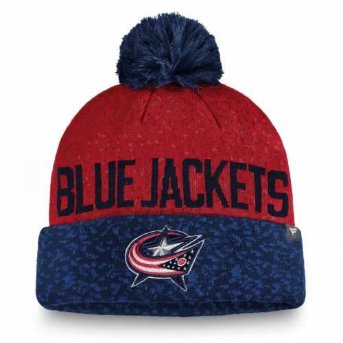 FANATICS BRANDED 青 ブルー ニット メンズファッション コート ジャケット メンズ 【 Columbus Blue Jackets Fan Weave Cuffed Knit Hat With Pom - Navy/red 】 Navy/red