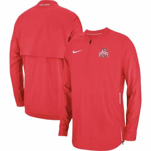 ナイキ NIKE オハイオ スケートボード サイドライン メンズファッション コート ジャケット メンズ 【 Ohio State Buckeyes 2018 Sideline Lockdown Half-zip Jacket - Scarlet 】 Scarlet