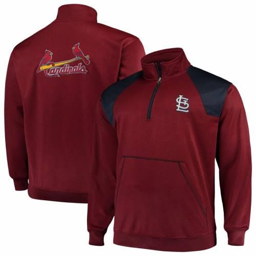マジェスティック MAJESTIC カーディナルス St. メンズファッション コート ジャケット メンズ 【 St. Louis Cardinals Big And Tall Quarter-zip Two-tone Pullover Jacket - Red/navy 】 Red/navy