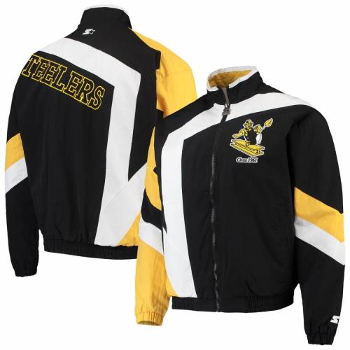 スターター STARTER ピッツバーグ スティーラーズ メンズファッション コート ジャケット メンズ 【 Pittsburgh Steelers Throwback Star Full-zip Jacket - Black/white 】 Black/white