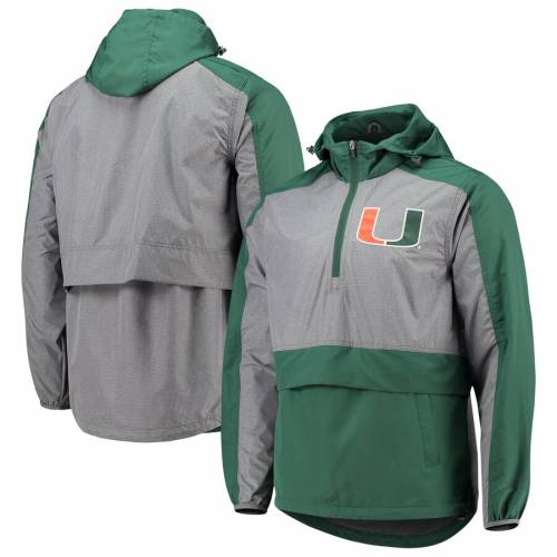 G-III SPORTS BY CARL BANKS マイアミ 緑 グリーン メンズファッション コート ジャケット メンズ 【 Miami Hurricanes Leadoff Hooded Half-zip Pullover Jacket - Green 】 Green