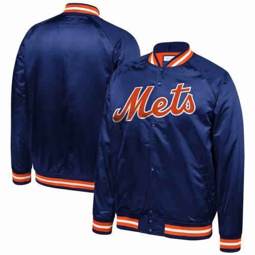 ミッチェル&ネス MITCHELL & NESS メッツ サテン メンズファッション コート ジャケット メンズ 【 New York Mets Mitchell And Ness Big And Tall Satin Full-snap Jacket - Royal 】 Royal