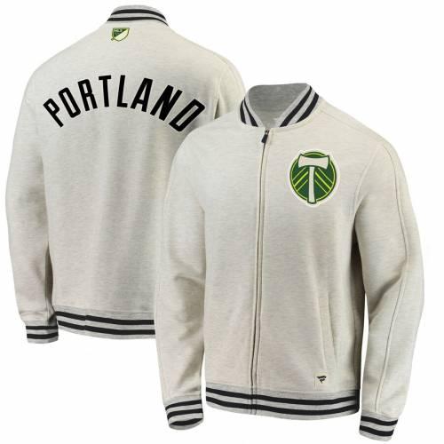 FANATICS BRANDED ポートランド トラック メンズファッション コート ジャケット メンズ 【 Portland Timbers Heritage Retro Full-zip Track Jacket - Cream/black 】 Cream/black