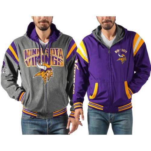 G-III SPORTS BY CARL BANKS ミネソタ バイキングス リバーシブル 紫 パープル メンズファッション コート ジャケット メンズ 【 Minnesota Vikings Hardball Reversible Full-zip Hooded Jacket - Purple 】 Purple