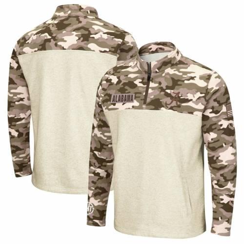COLOSSEUM アラバマ メンズファッション コート ジャケット メンズ 【 Alabama Crimson Tide Oht Military Appreciation Desert Camo Quarter-zip Pullover Jacket - Oatmeal 】 Oatmeal