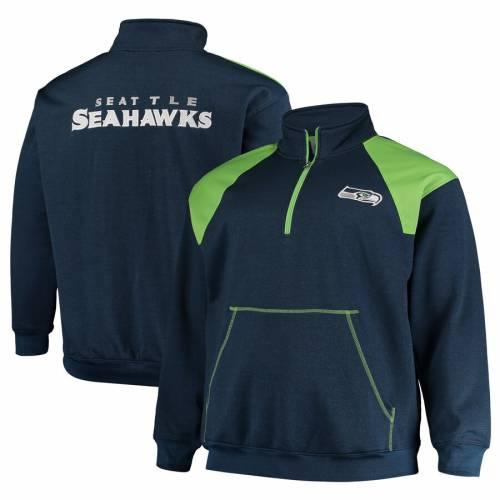 PROFILE シアトル シーホークス カレッジ 緑 グリーン メンズファッション コート ジャケット メンズ 【 Seattle Seahawks Big And Tall Mesh Yoke Quarter-zip Jacket - College Navy/neon Green 】 College Navy/neon Gree
