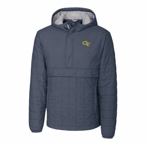 CUTTER & BUCK テック 黄色 イエロー メンズファッション コート ジャケット メンズ 【 Georgia Tech Yellow Jackets Cutter And Buck Rainier Half-zip Popover Jacket - Anthracite 】 Anthracite