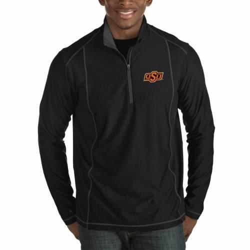 ANTIGUA スケートボード カウボーイズ 黒 ブラック メンズファッション コート ジャケット メンズ 【 Oklahoma State Cowboys Tempo Half-zip Pullover Big And Tall Jacket - Black 】 Black
