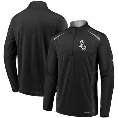 マジェスティック MAJESTIC シカゴ 白 ホワイト クール 黒 ブラック メンズファッション コート ジャケット メンズ 【 Chicago White Sox Perfect Movements Cool Base Quarter-zip Pullover Jacket - Black 】 Black