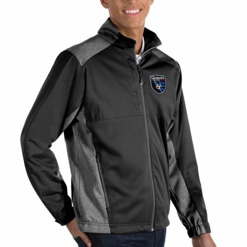 ANTIGUA 黒 ブラック メンズファッション コート ジャケット メンズ 【 San Jose Earthquakes Revolve Big And Tall Full-zip Jacket - Black 】 Black