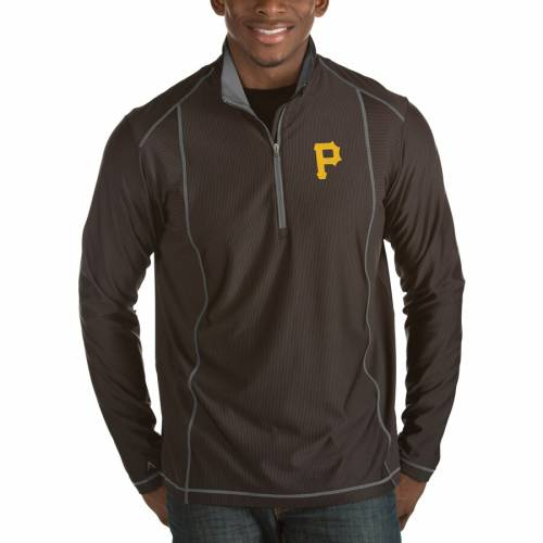 ANTIGUA ピッツバーグ 海賊団 黒 ブラック メンズファッション コート ジャケット メンズ 【 Pittsburgh Pirates Tempo Half-zip Pullover Jacket - Heathered Black 】 Black